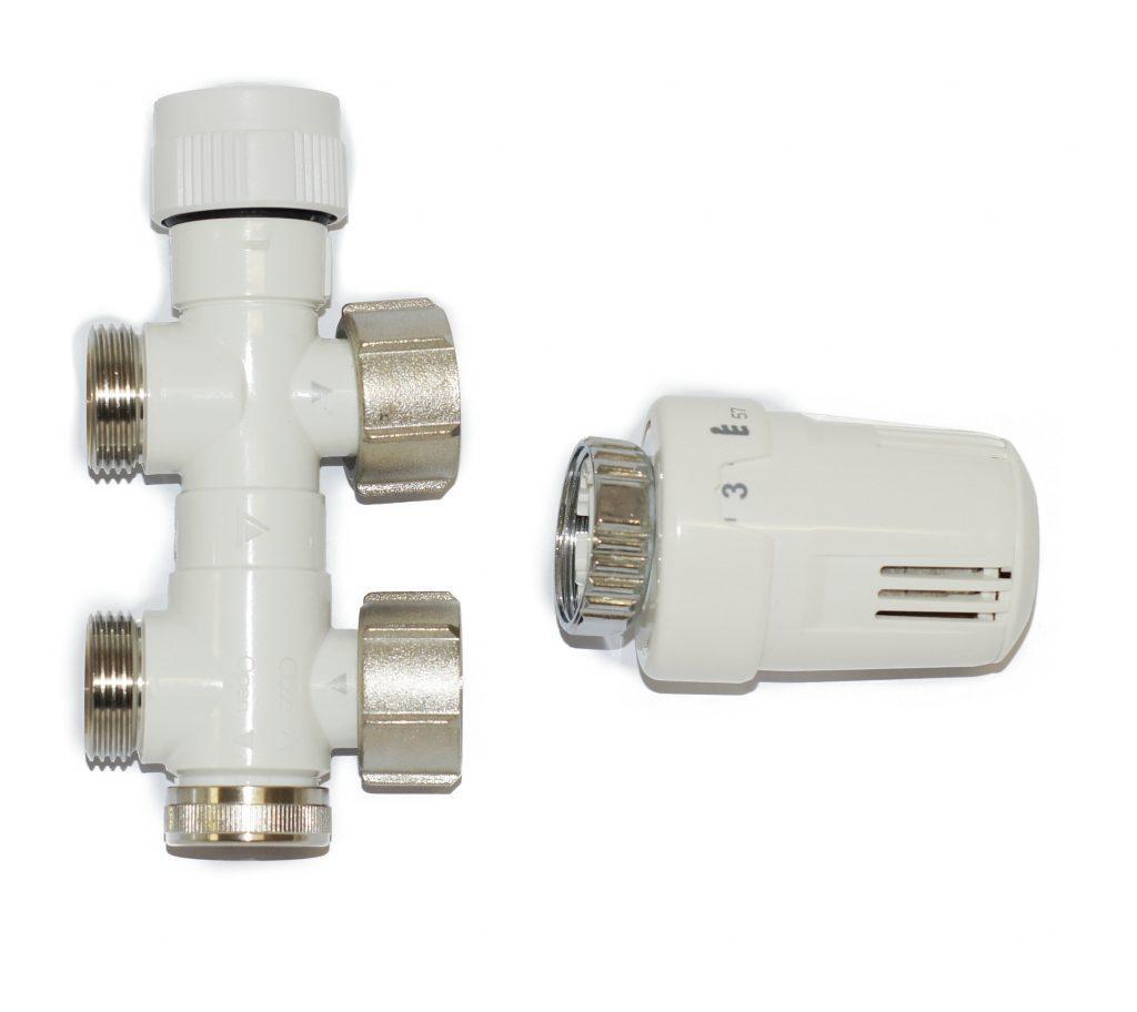 MERT – SET WEISS, OHNE ABDECKUNG DURCHGANGSVENTIL Thermostat rechts oder links