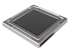 """Mert Flach Bodenablauf mit gehärteter Glas Abdeckung """"ANTHRAZIT"""", Edelstahlrahmen 110x110 mm"""