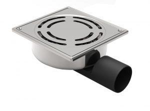 MERT Bodenablauf mit Sicherheitschlüssel komplett aus Edelstahl (304), 150x150 mm