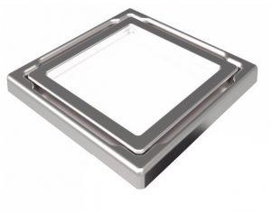 """Mert Flach Bodenablauf mit gehärteter Glas Abdeckung """"WEISS"""", Edelstahlrahmen 110x110 mm"""