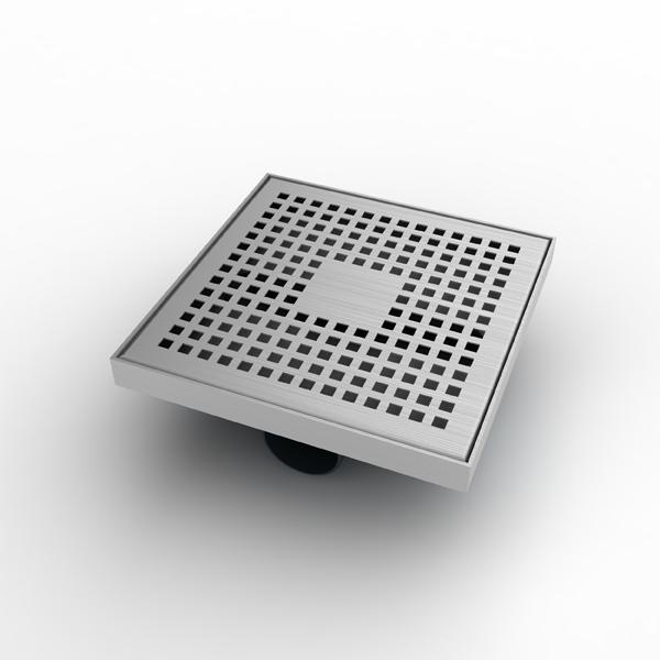 """Mert Bodenablauf Design """"Kare"""" komplett aus Edelstahl 200x200 mm, sehr flach"""