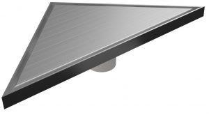 """Mert Bodenablauf Design """"Dreieck Edel"""" komplett aus Edelstahl 215x215x304 mm, sehr flach"""