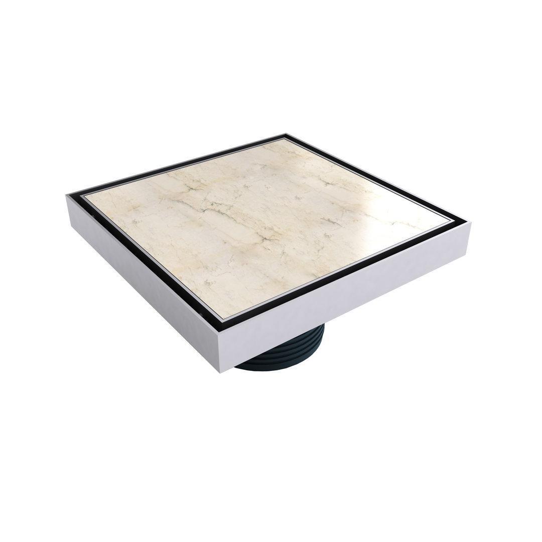 """Mert Bodenablauf Design """"Fliesen"""" komplett aus Edelstahl für Flieseneinsatz 200x200 mm, sehr flach"""