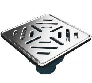 """MERT Bodenablauf mit Edelstahlrost und Rahmen """"Stripes"""" (304), 150x150 mm"""